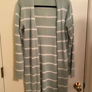 Mint and White Striped Cardigan